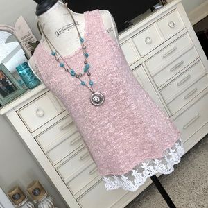 Beautiful pink tank/tunic with lace trim